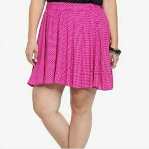 Torrid Very Berry Dot Challis Skater Skirt Pink